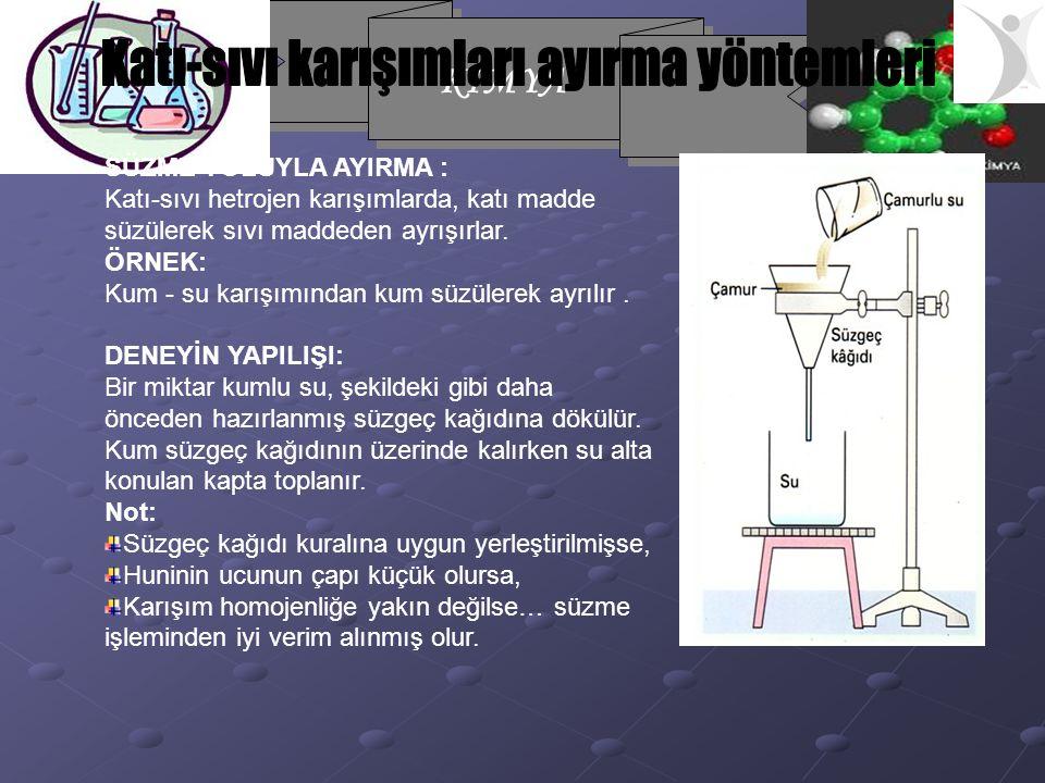 Katı-sıvı karışımları ayırma yöntemleri