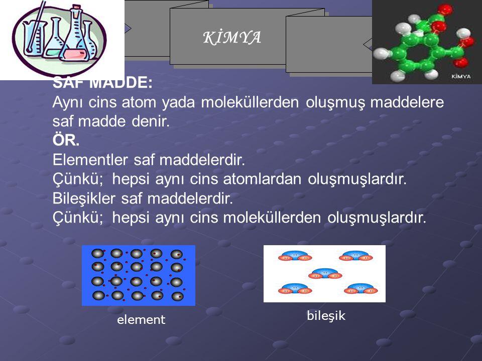 Aynı cins atom yada moleküllerden oluşmuş maddelere saf madde denir.