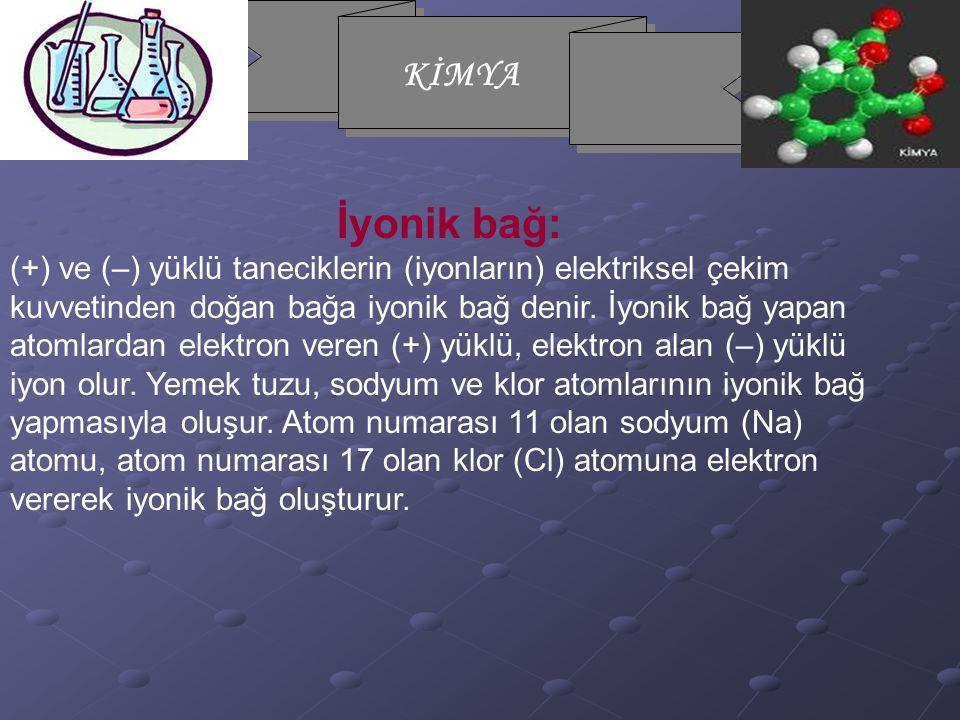 İyonik bağ: (+) ve (–) yüklü taneciklerin (iyonların) elektriksel çekim kuvvetinden doğan bağa iyonik bağ denir.