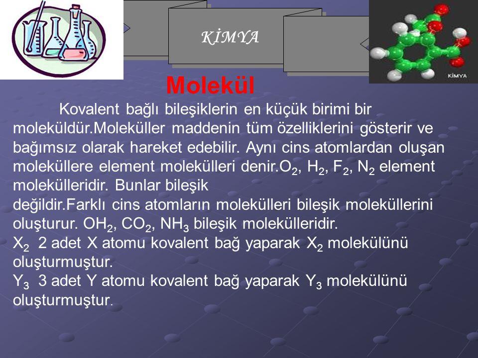 Molekül Kovalent bağlı bileşiklerin en küçük birimi bir moleküldür