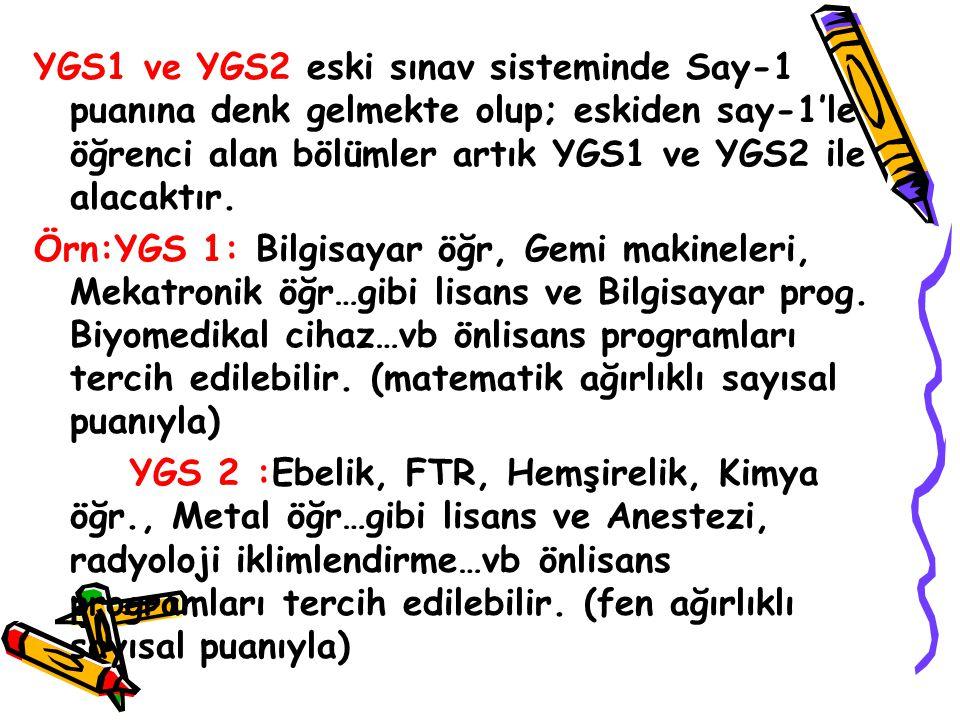 YGS1 ve YGS2 eski sınav sisteminde Say-1 puanına denk gelmekte olup; eskiden say-1'le öğrenci alan bölümler artık YGS1 ve YGS2 ile alacaktır.