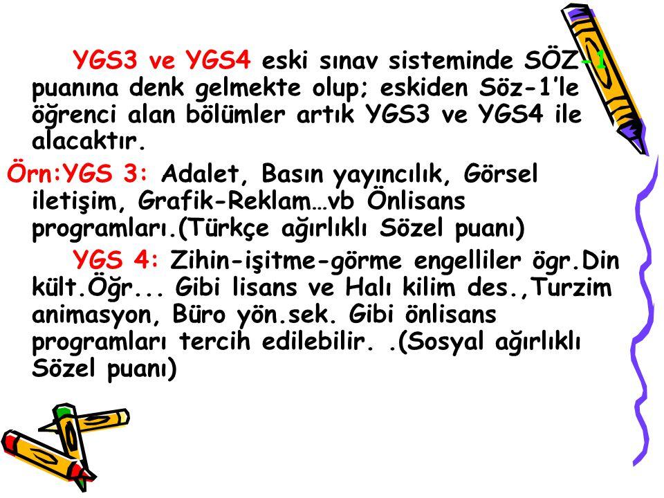 YGS3 ve YGS4 eski sınav sisteminde SÖZ-1 puanına denk gelmekte olup; eskiden Söz-1'le öğrenci alan bölümler artık YGS3 ve YGS4 ile alacaktır.