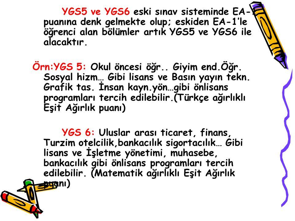 YGS5 ve YGS6 eski sınav sisteminde EA-1 puanına denk gelmekte olup; eskiden EA-1'le öğrenci alan bölümler artık YGS5 ve YGS6 ile alacaktır.