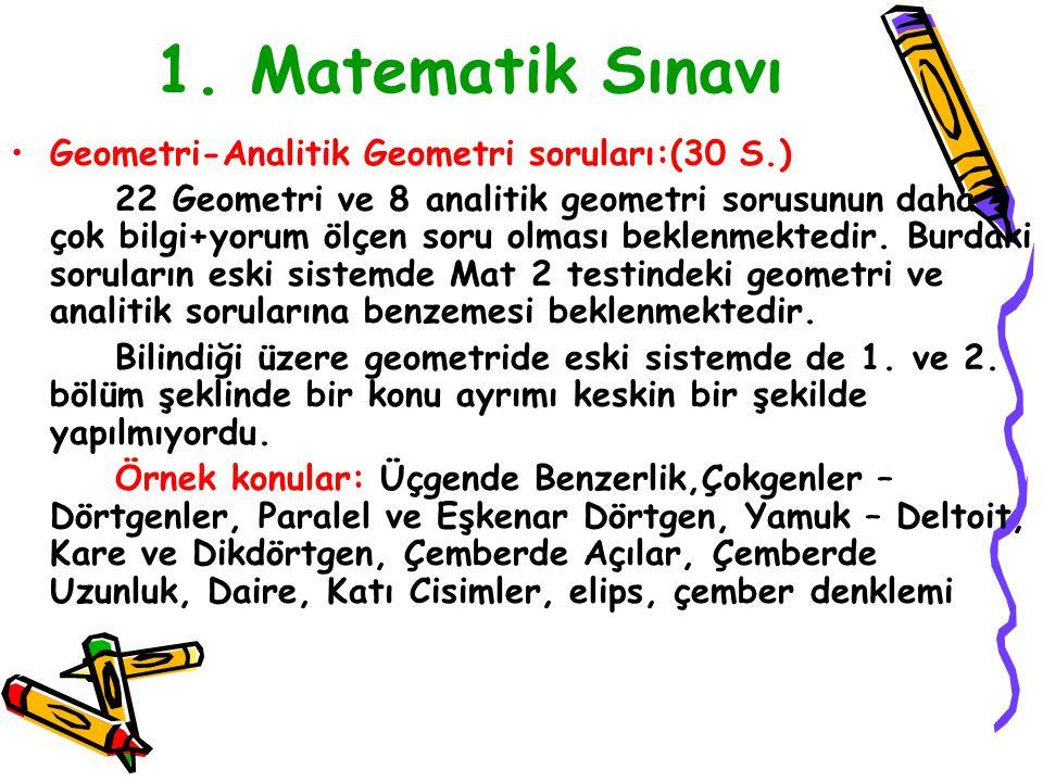 1. Matematik Sınavı Geometri-Analitik Geometri soruları:(30 S.)