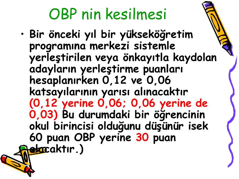OBP nin kesilmesi
