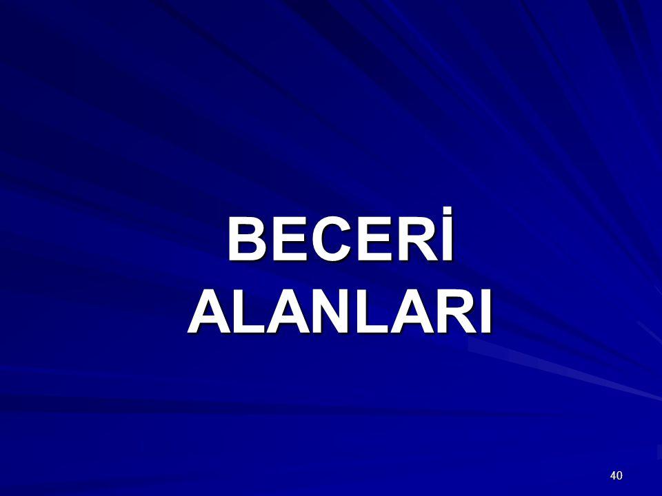 BECERİ ALANLARI