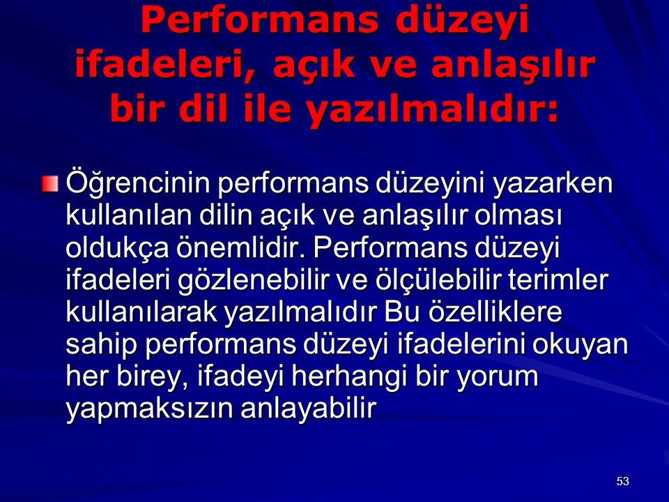 Performans düzeyi ifadeleri, açık ve anlaşılır bir dil ile yazılmalıdır: