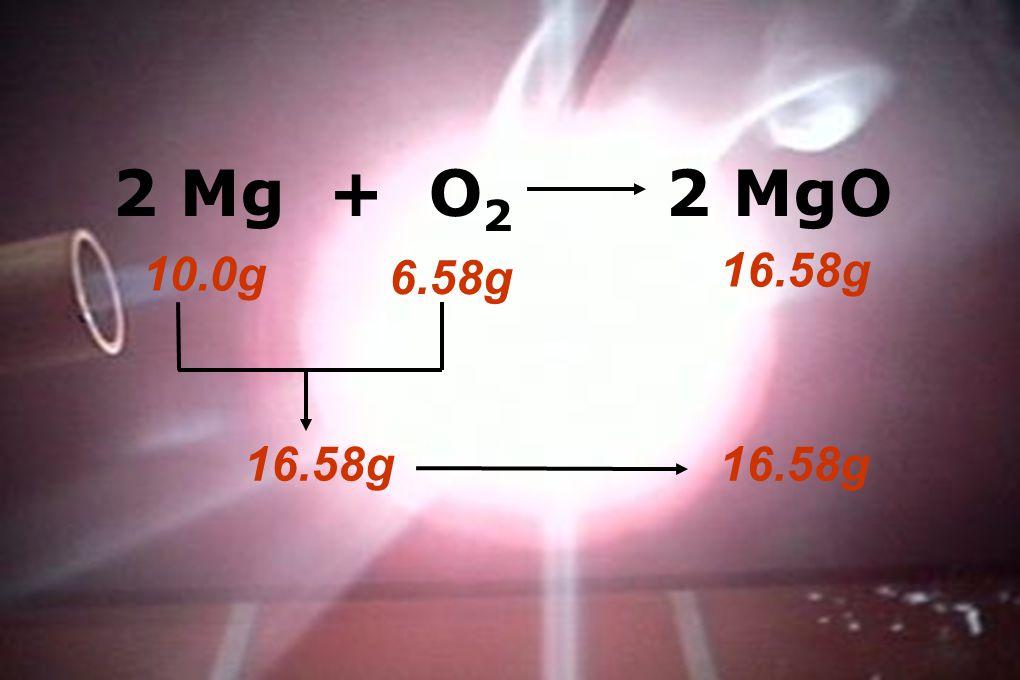 2 Mg + O2 2 MgO 10.0g 16.58g 6.58g 16.58g 16.58g