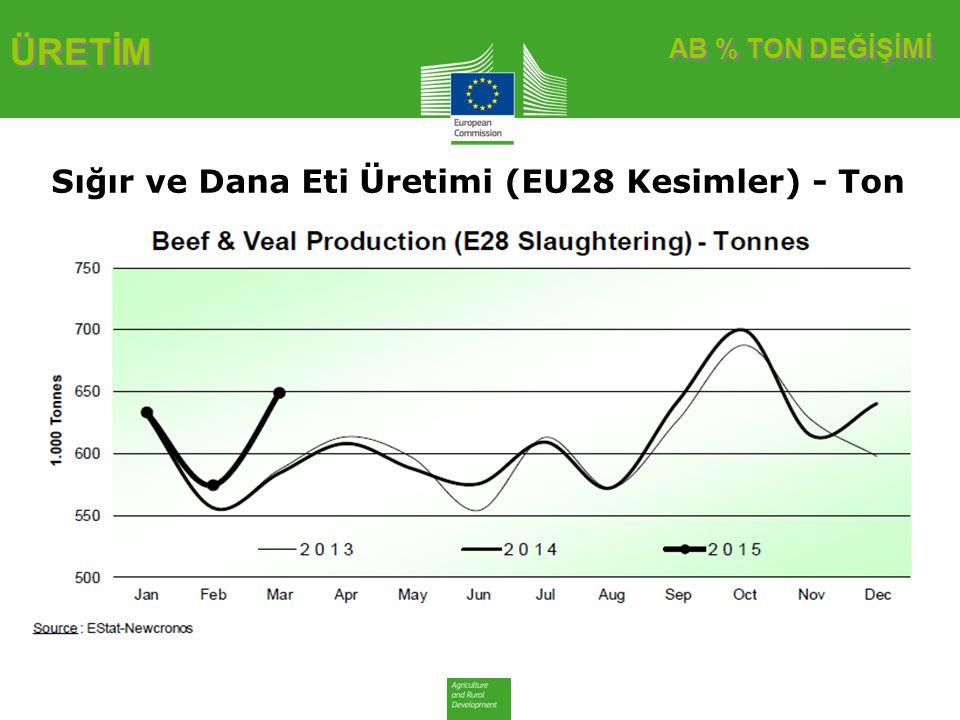 ÜRETİM Sığır ve Dana Eti Üretimi (EU28 Kesimler) - Ton