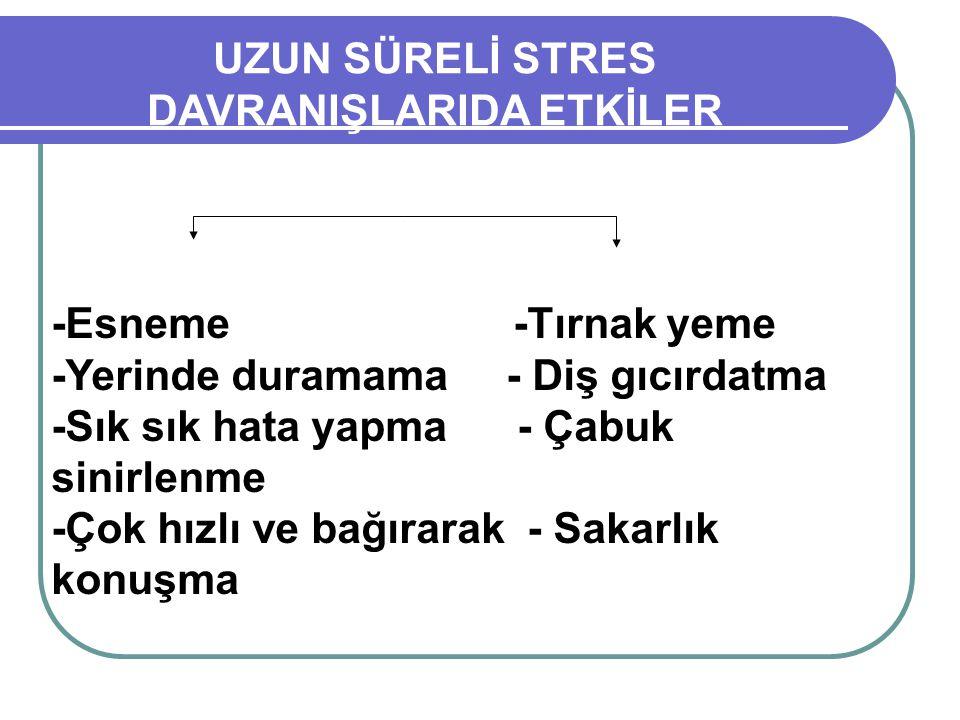 UZUN SÜRELİ STRES DAVRANIŞLARIDA ETKİLER