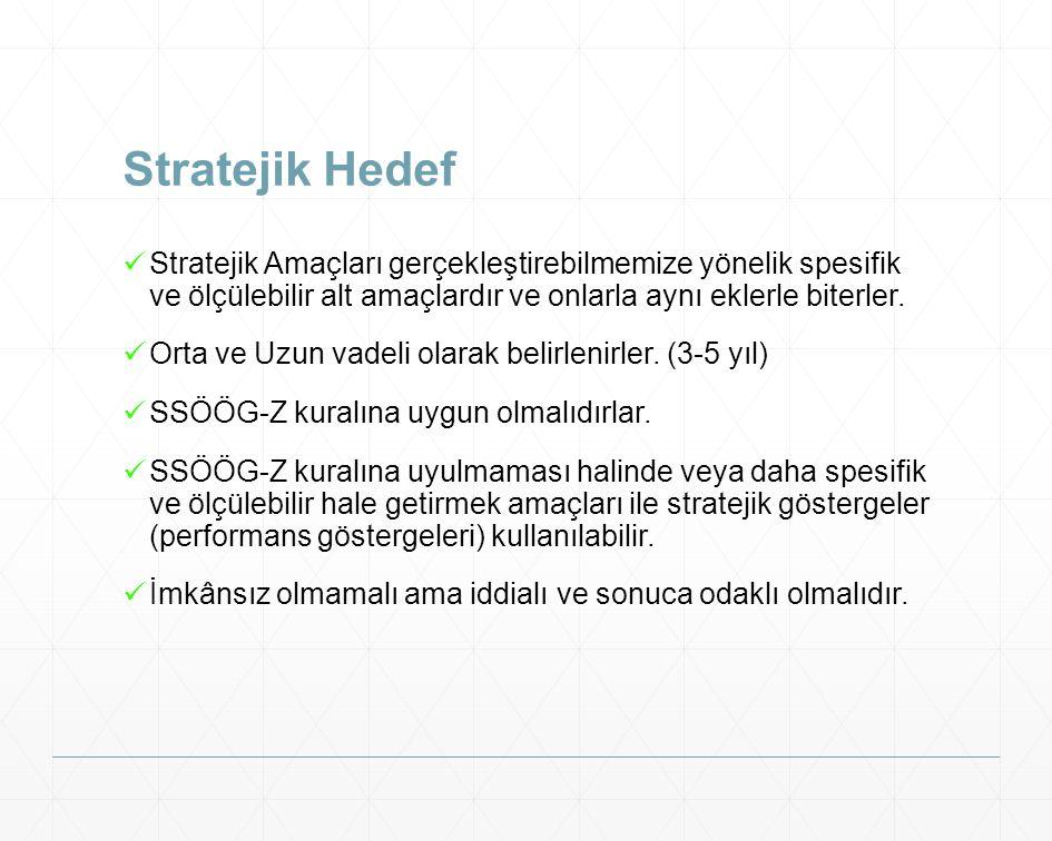 Stratejik Hedef Stratejik Amaçları gerçekleştirebilmemize yönelik spesifik ve ölçülebilir alt amaçlardır ve onlarla aynı eklerle biterler.