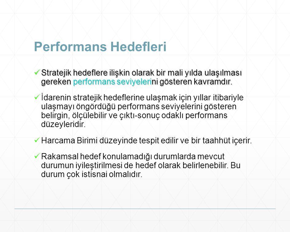 Performans Hedefleri Stratejik hedeflere ilişkin olarak bir mali yılda ulaşılması gereken performans seviyelerini gösteren kavramdır.