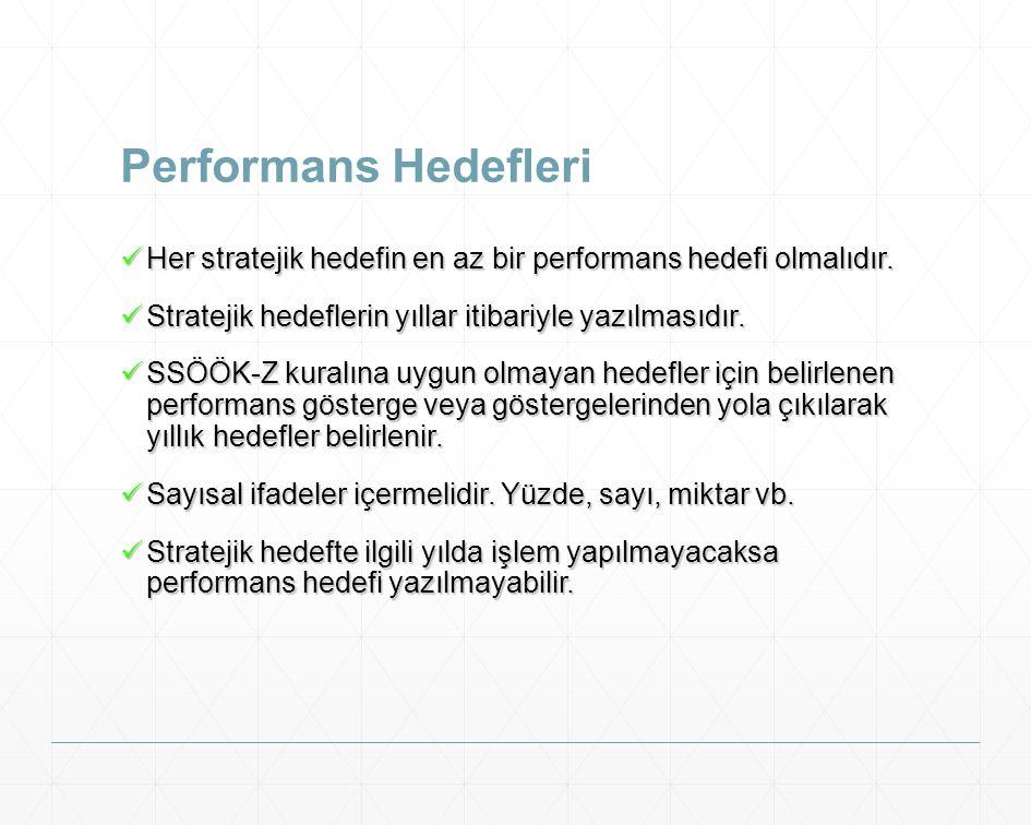Performans Hedefleri Her stratejik hedefin en az bir performans hedefi olmalıdır. Stratejik hedeflerin yıllar itibariyle yazılmasıdır.