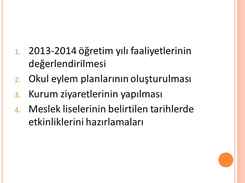 2013-2014 öğretim yılı faaliyetlerinin değerlendirilmesi