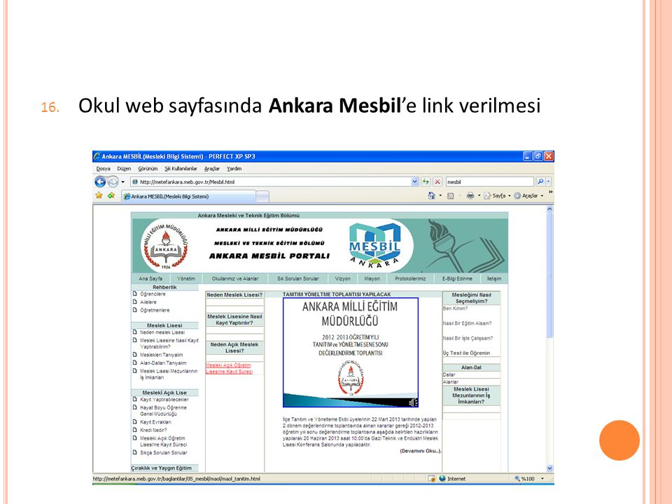 Okul web sayfasında Ankara Mesbil'e link verilmesi