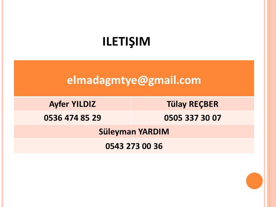 iletişim elmadagmtye@gmail.com Ayfer YILDIZ Tülay REÇBER