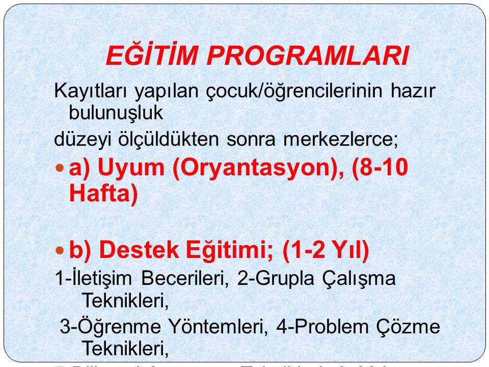 EĞİTİM PROGRAMLARI a) Uyum (Oryantasyon), (8-10 Hafta)