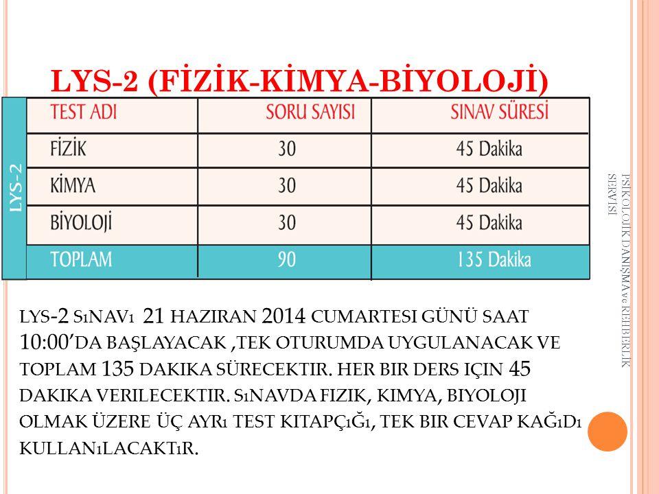 LYS-2 (FİZİK-KİMYA-BİYOLOJİ)
