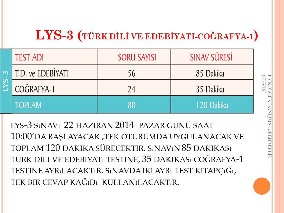 LYS-3 (TÜRK DİLİ VE EDEBİYATI-COĞRAFYA-1)