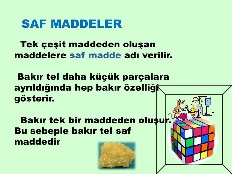SAF MADDELER Tek çeşit maddeden oluşan maddelere saf madde adı verilir. Bakır tel daha küçük parçalara ayrıldığında hep bakır özelliği gösterir.
