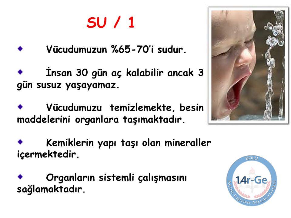 SU / 1 Vücudumuzun %65-70'i sudur.