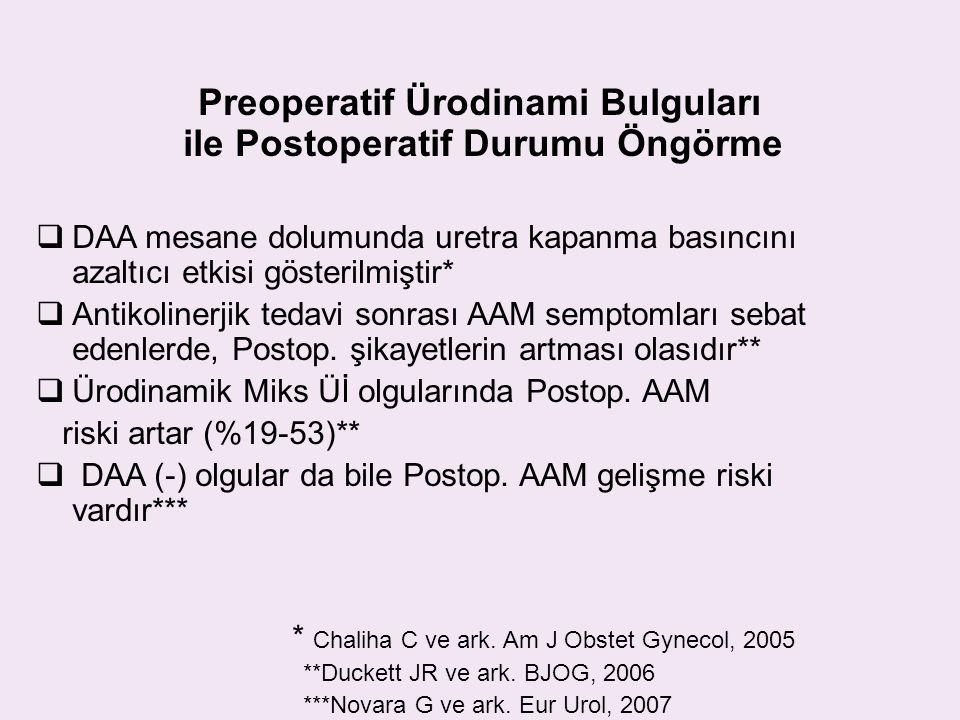 Preoperatif Ürodinami Bulguları ile Postoperatif Durumu Öngörme