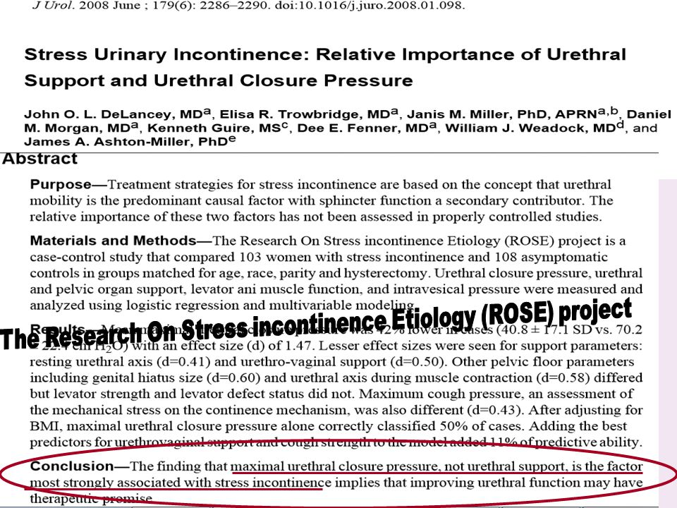 The Research On Stress incontinence Etiology (ROSE) project