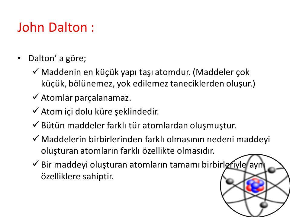John Dalton : Dalton' a göre;