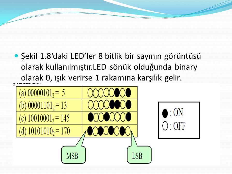 Şekil 1.8'daki LED'ler 8 bitlik bir sayının görüntüsü olarak kullanılmıştır.LED sönük olduğunda binary olarak 0, ışık verirse 1 rakamına karşılık gelir.