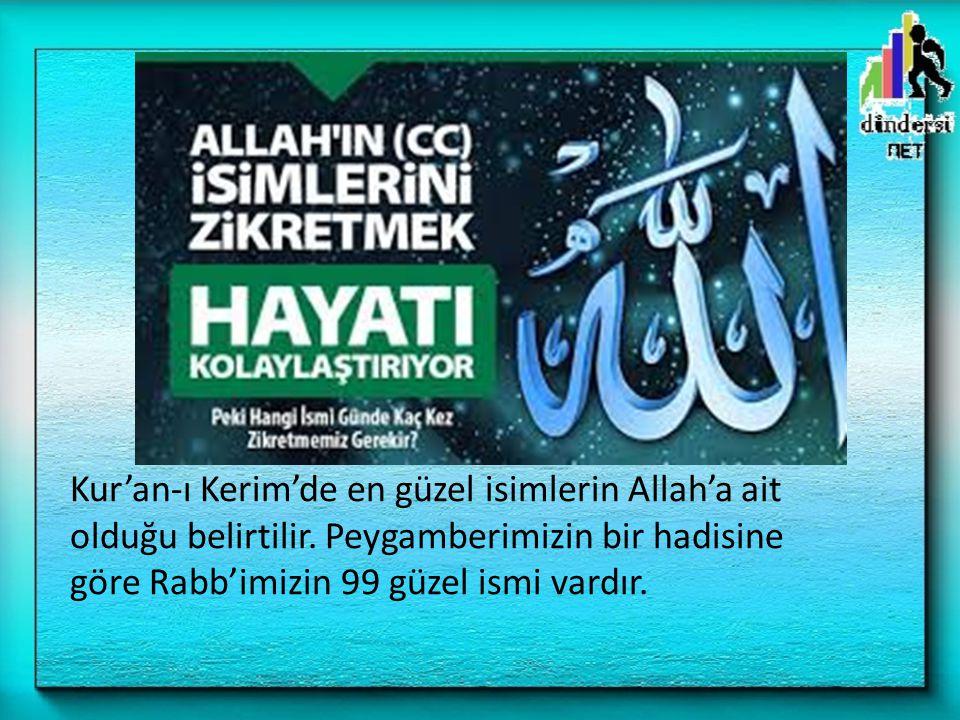 Kur'an-ı Kerim'de en güzel isimlerin Allah'a ait olduğu belirtilir