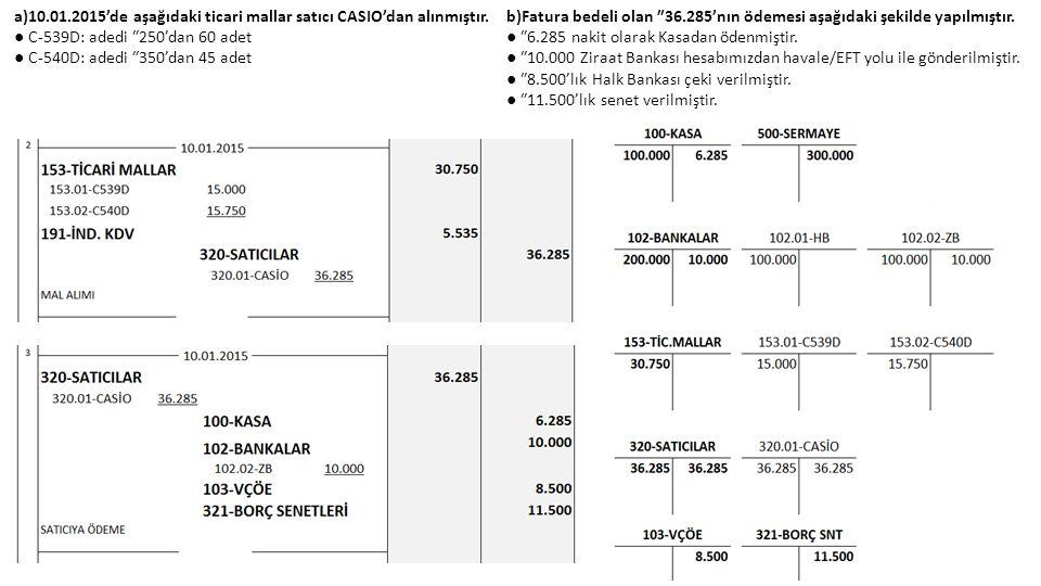 a)10.01.2015'de aşağıdaki ticari mallar satıcı CASIO'dan alınmıştır.