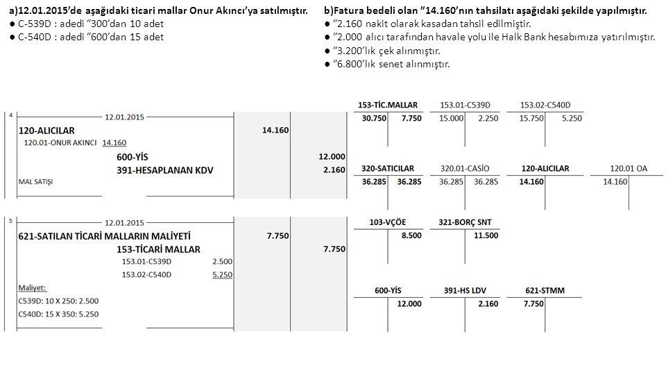 a)12.01.2015'de aşağıdaki ticari mallar Onur Akıncı'ya satılmıştır.