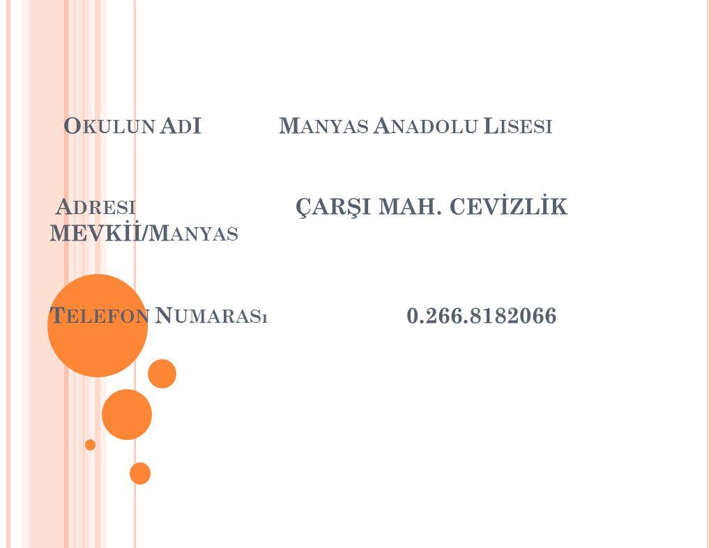 Okulun AdI Manyas Anadolu Lisesi Adresi. ÇARŞI MAH