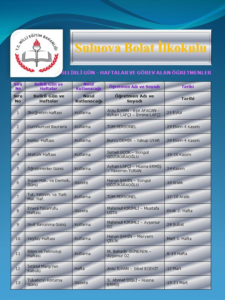 Suluova Bolat İlkokulu Belirli Gün ve Haftalar