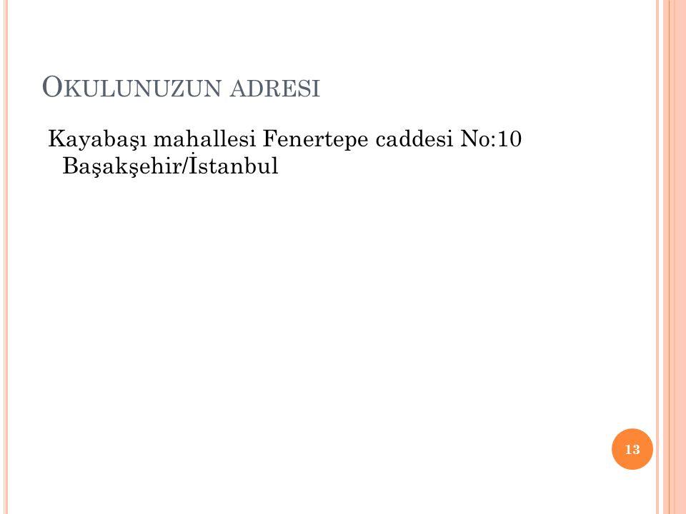 Okulunuzun adresi Kayabaşı mahallesi Fenertepe caddesi No:10 Başakşehir/İstanbul