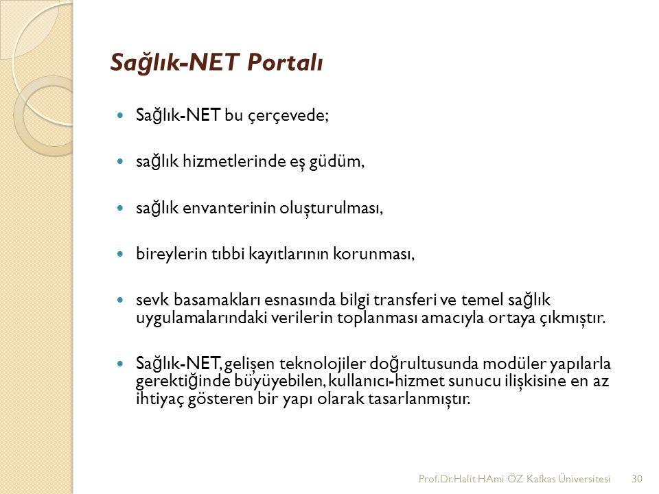 Sağlık-NET Portalı Sağlık-NET bu çerçevede;