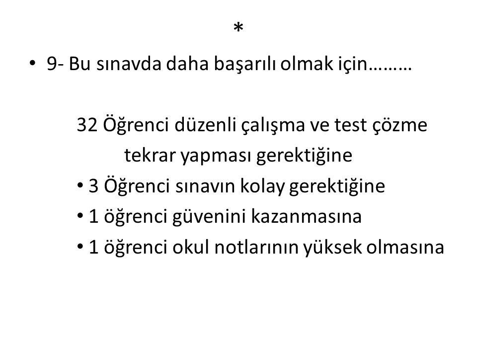 * 9- Bu sınavda daha başarılı olmak için………