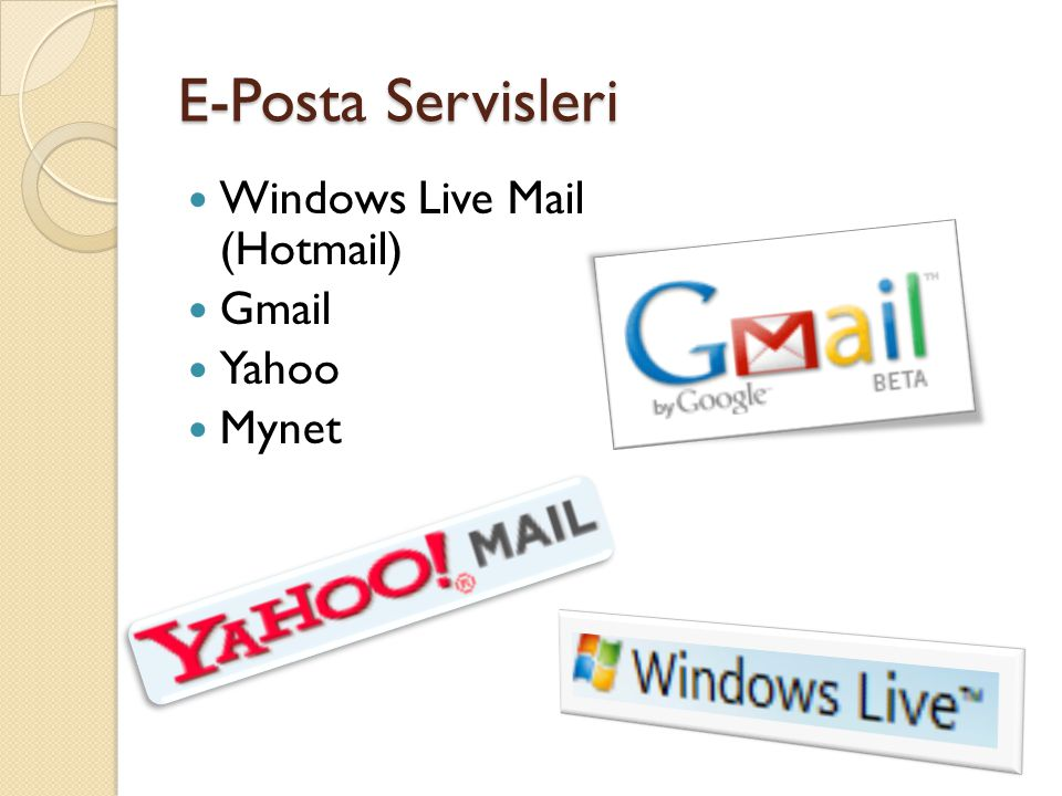 E-Posta Servisleri Windows Live Mail (Hotmail) Gmail Yahoo Mynet