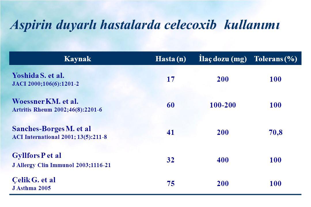 Aspirin duyarlı hastalarda celecoxib kullanımı