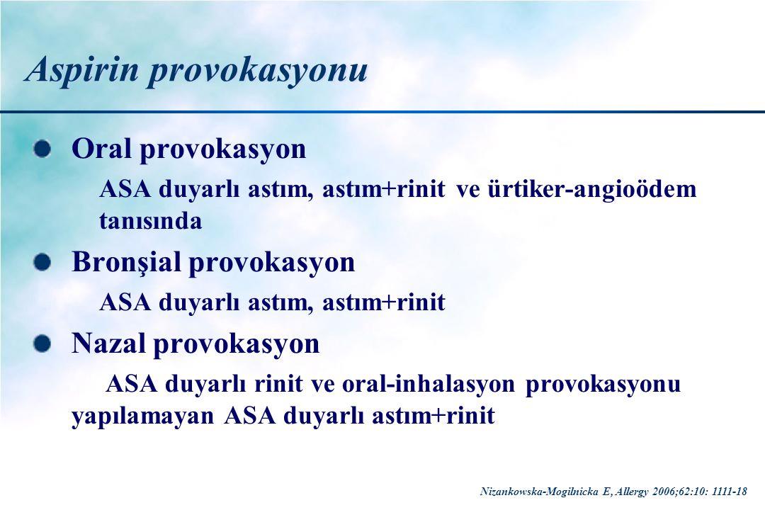 Aspirin provokasyonu Oral provokasyon Bronşial provokasyon