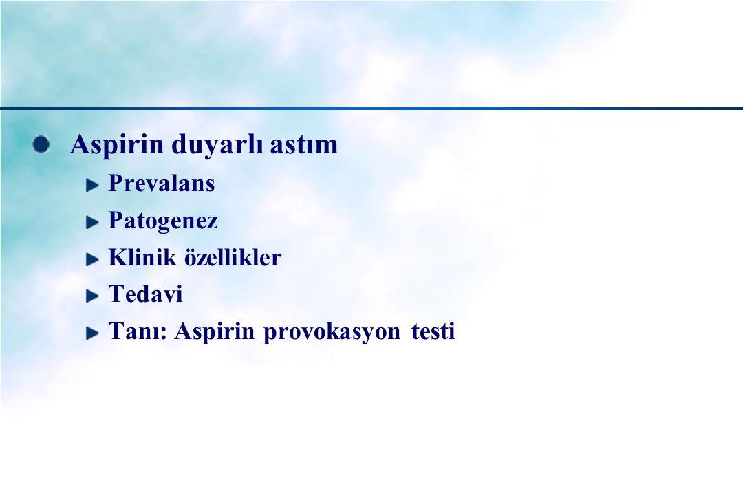 Aspirin duyarlı astım Prevalans Patogenez Klinik özellikler Tedavi