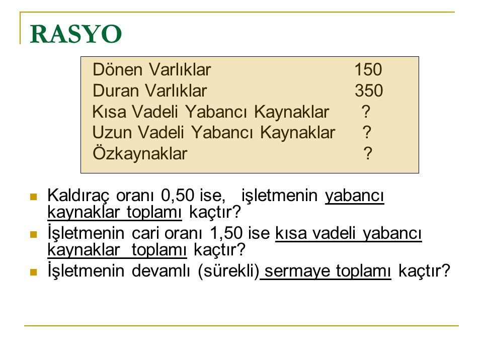 RASYO Dönen Varlıklar 150 Duran Varlıklar 350