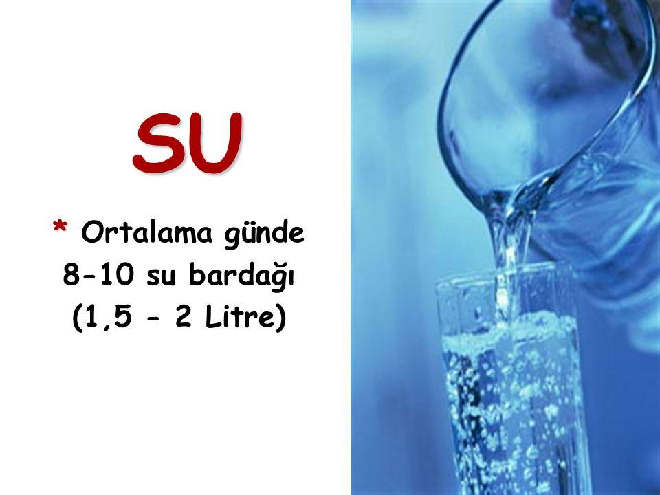SU * Ortalama günde 8-10 su bardağı (1,5 - 2 Litre)