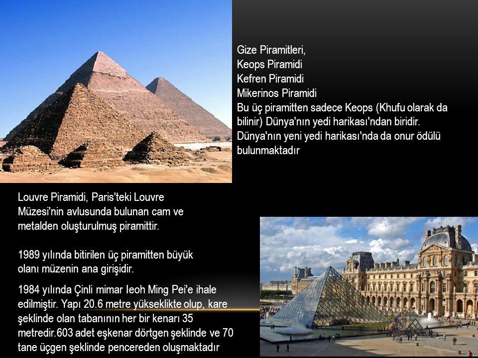 Gize Piramitleri, Keops Piramidi. Kefren Piramidi. Mikerinos Piramidi.