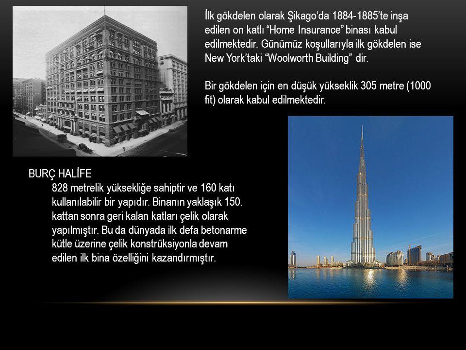 İlk gökdelen olarak Şikago'da 1884-1885'te inşa edilen on katlı Home Insurance binası kabul edilmektedir. Günümüz koşullarıyla ilk gökdelen ise New York'taki Woolworth Building dir.