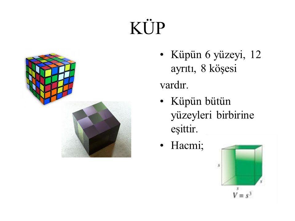 KÜP Küpün 6 yüzeyi, 12 ayrıtı, 8 köşesi vardır.