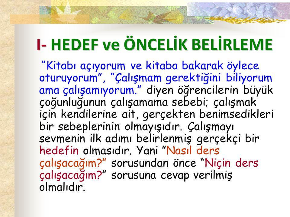 I- HEDEF ve ÖNCELİK BELİRLEME