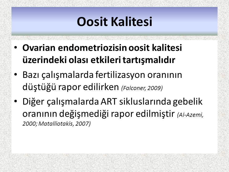 Oosit Kalitesi Ovarian endometriozisin oosit kalitesi üzerindeki olası etkileri tartışmalıdır.