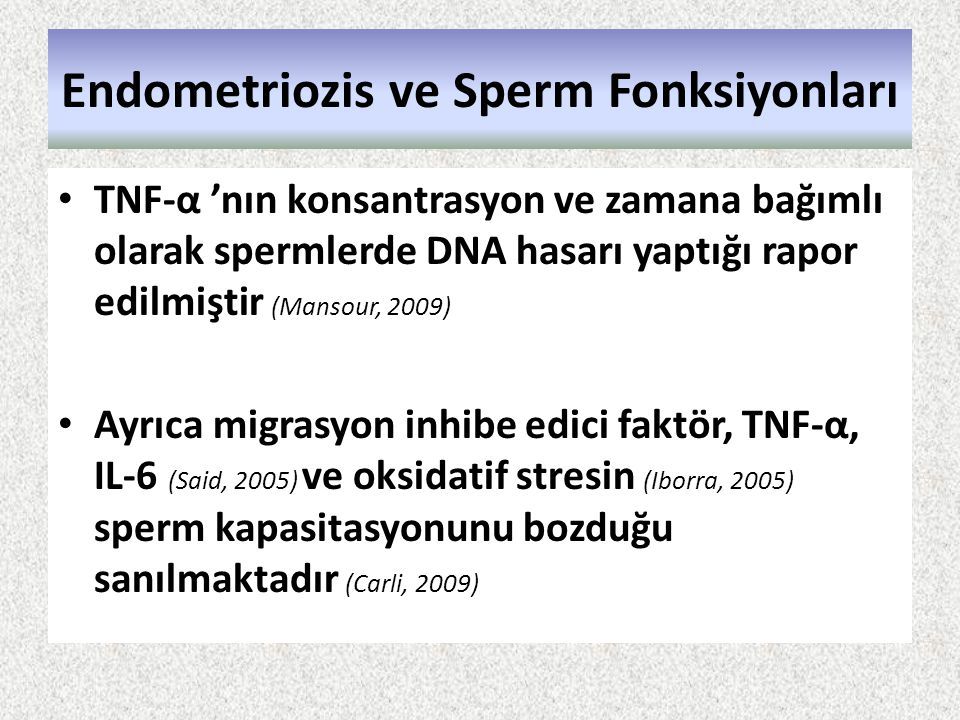 Endometriozis ve Sperm Fonksiyonları