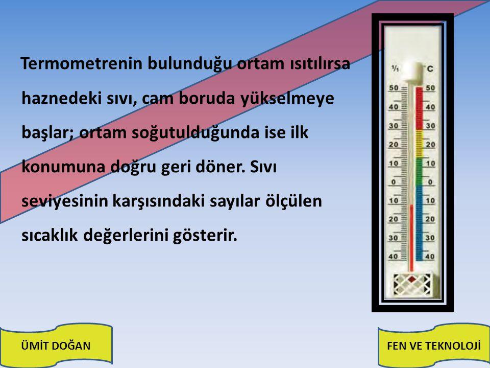 Termometrenin bulunduğu ortam ısıtılırsa haznedeki sıvı, cam boruda yükselmeye başlar; ortam soğutulduğunda ise ilk konumuna doğru geri döner.